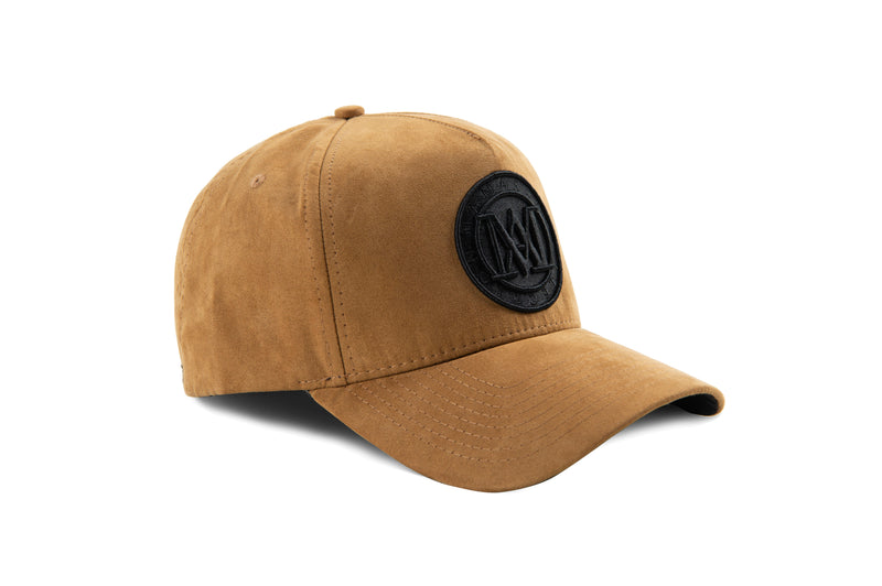 Manasse Suede Embroidered A-Frame Snap Back (Beige)