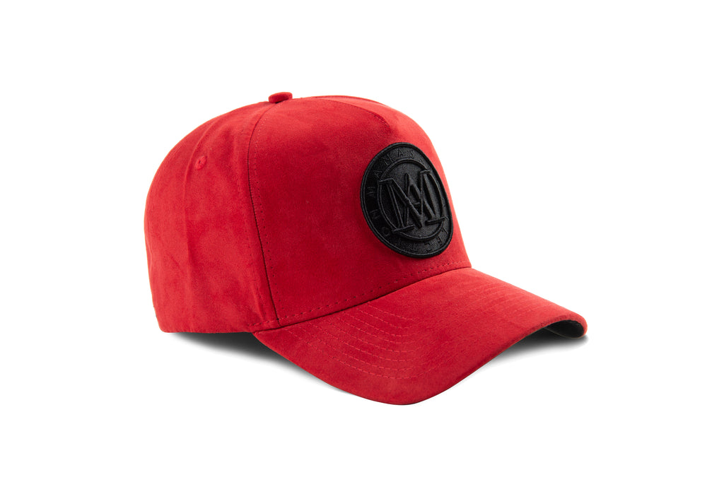 Manasse Suede Embroidered A-Frame Snap Back (Red)