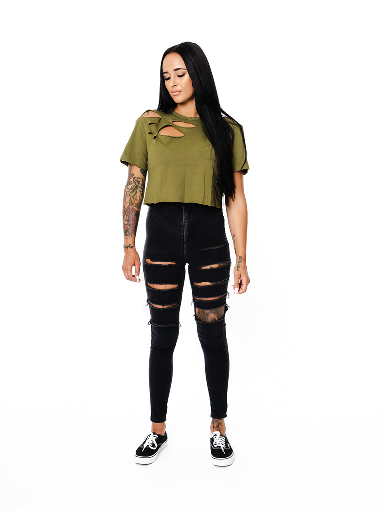 Womens - Manasse Distressed Duplo Crop Tee (Khaki)