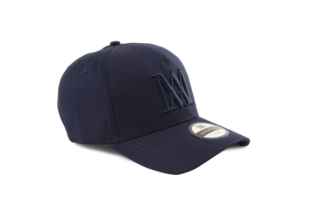 Manasse Cotton Embroidered A-Frame Snap Back (Navy on Navy)