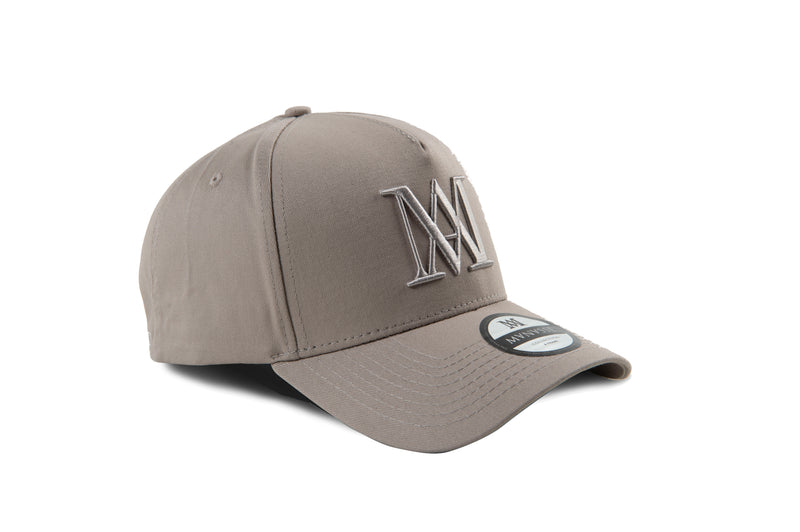 Manasse Cotton Embroidered A-Frame Snap Back (Grey on Grey)