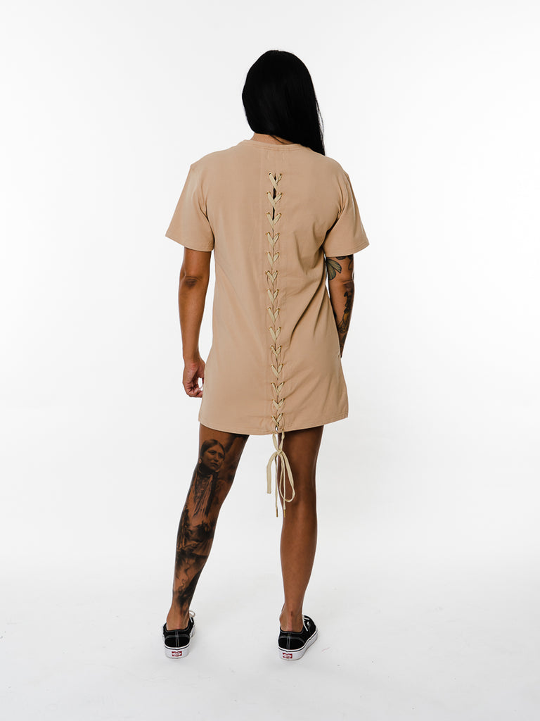Womens - Manasse Laced Cross-Back Tee (Beige)