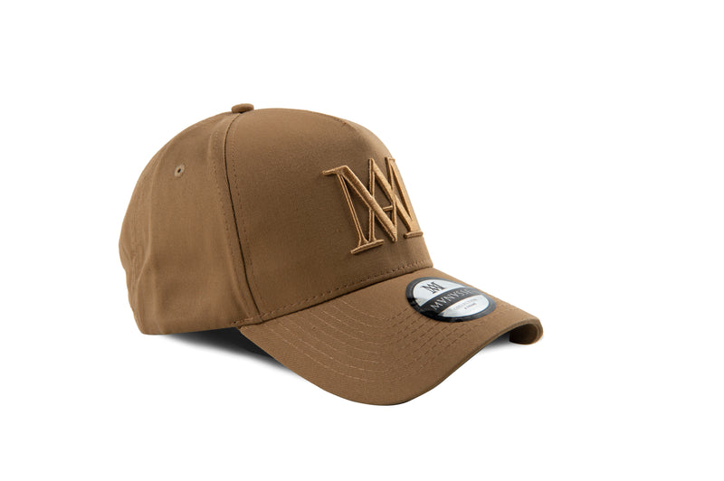 Manasse Cotton Embroidered A-Frame Snap Back (Beige on Beige)