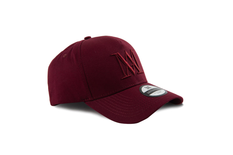 Manasse Cotton Embroidered A-Frame Snap Back (Burgundy on Burgundy)