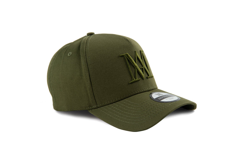 Manasse Cotton Embroidered A-Frame Snap Back (Khaki on Khaki)