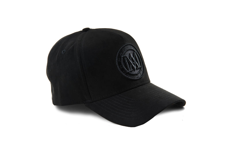 Manasse Suede Embroidered A-Frame Snap Back (Black)