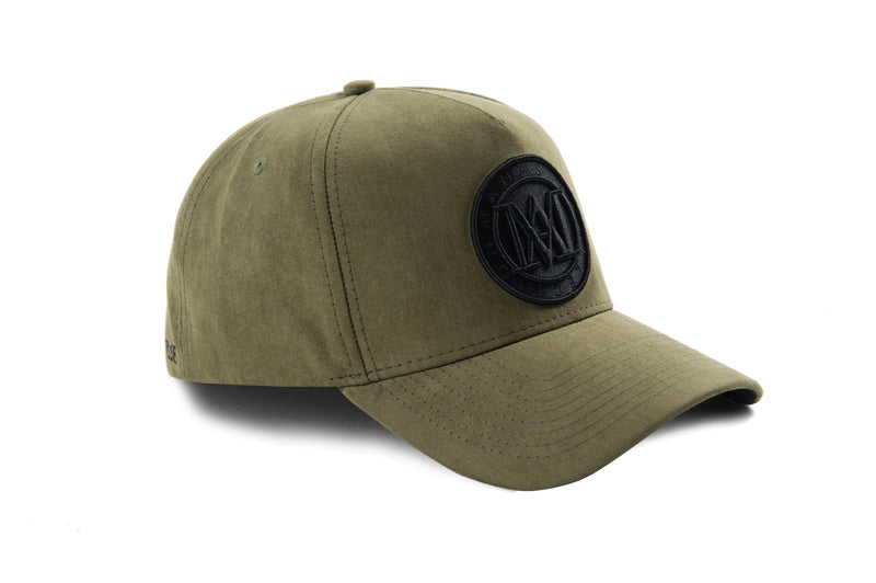 Manasse Suede Embroidered A-Frame Snap Back (Khaki)