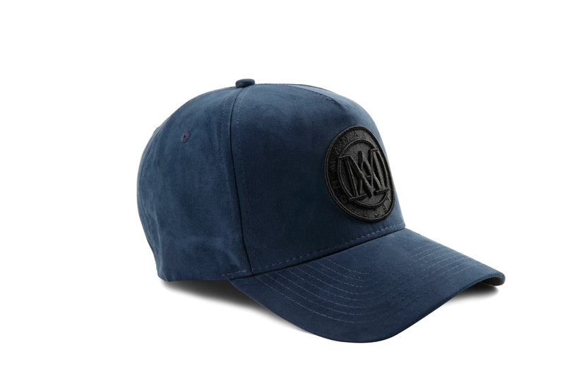 Manasse Suede Embroidered A-Frame Snap Back (Navy)