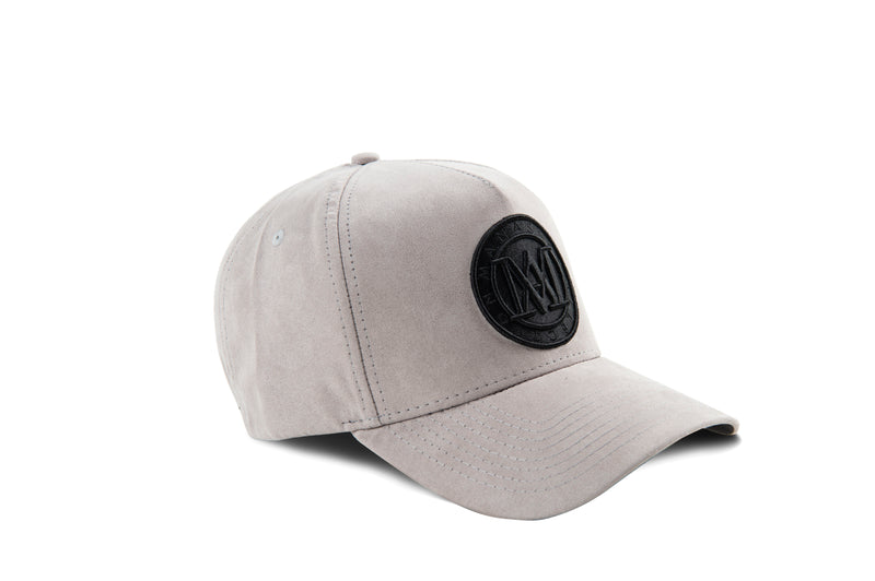 Manasse Suede Embroidered A-Frame Snap Back (Grey)