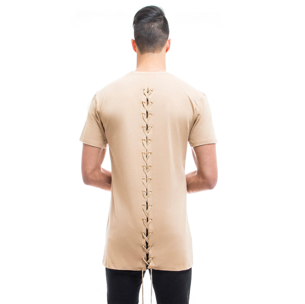 Mens - Manasse Laced Cross-Back Tee (Beige)