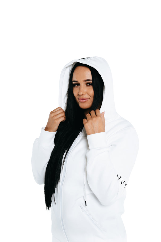 Manasse Women's Zip Up Hoodie (White)