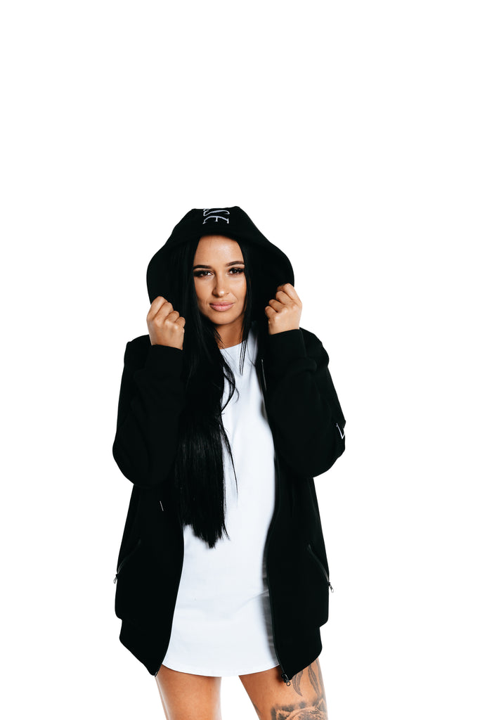 Manasse Women's Zip Up Hoodie (Black)