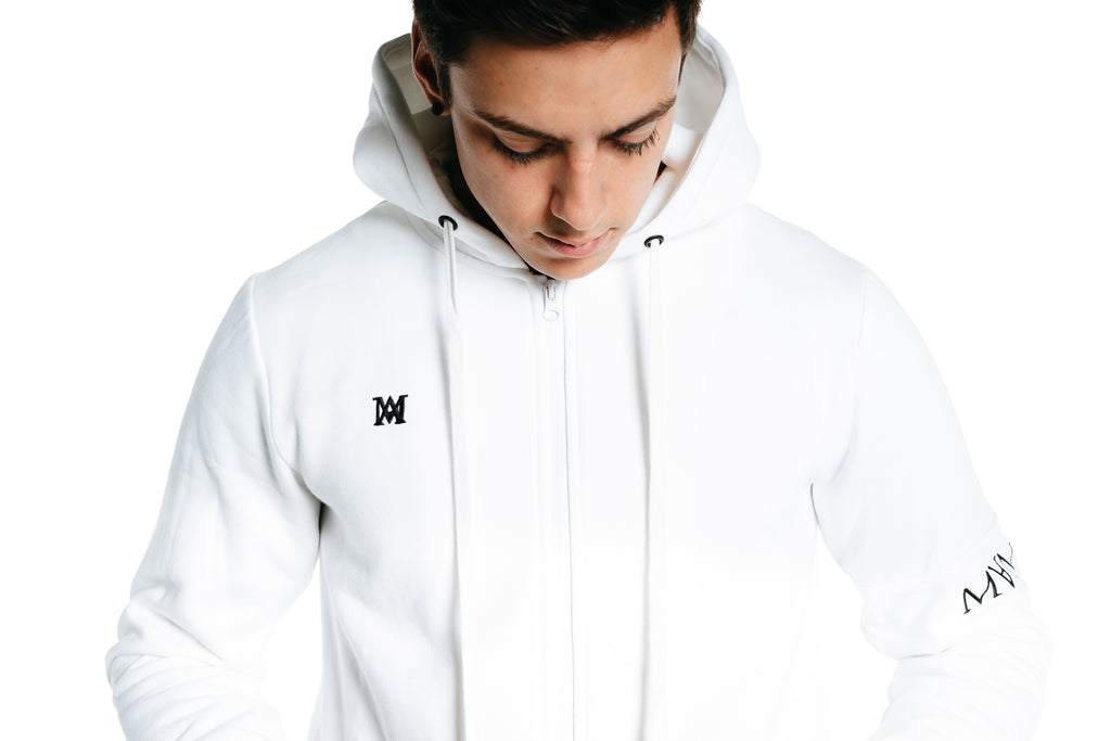Manasse Men's Zip Up Hoodie (White)