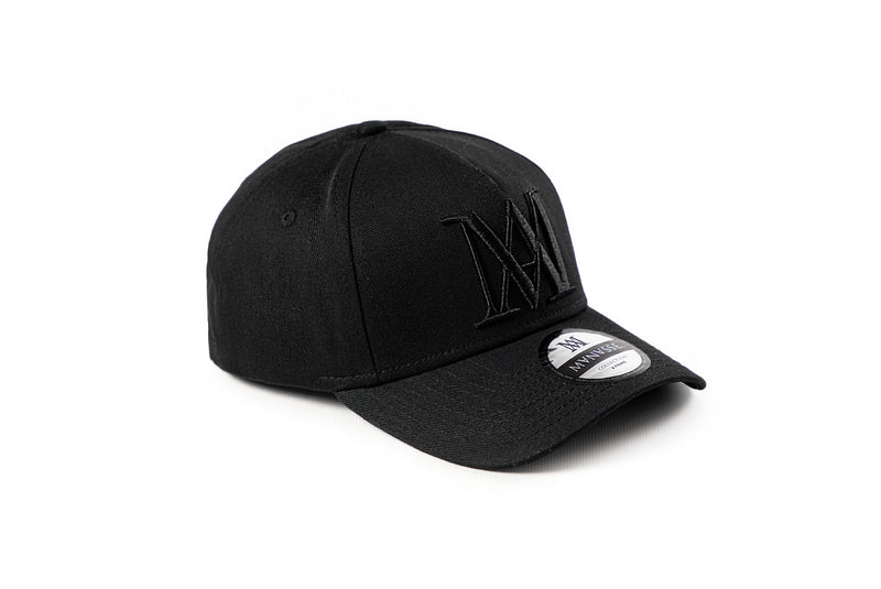 <strong>KIDS</strong> Manasse Embroidered A-Frame Snap Back (Black on Black) Kids