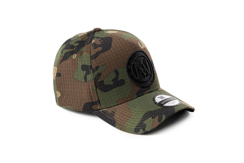 Manasse Cotton Embroidered A-Frame Snap Back (Camo)
