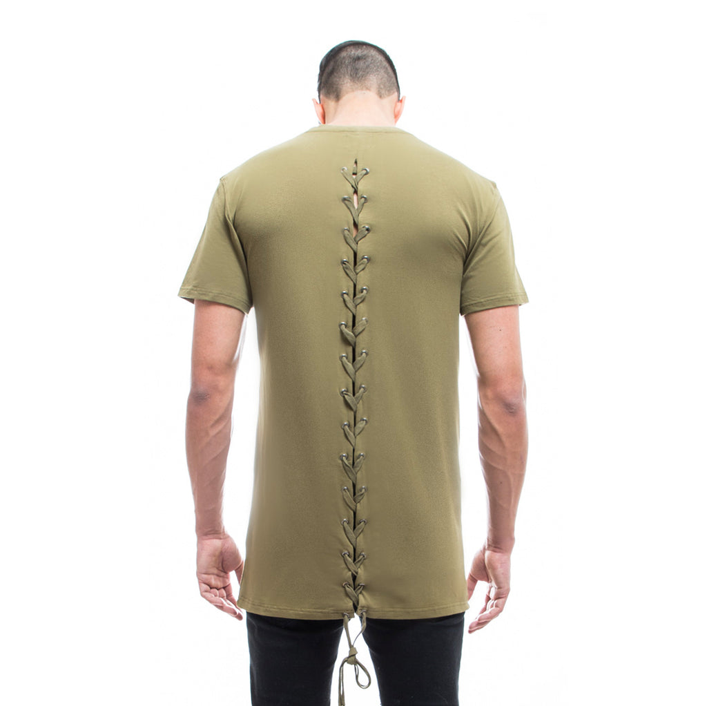 Mens - Manasse Laced Cross-Back Tee (Khaki)