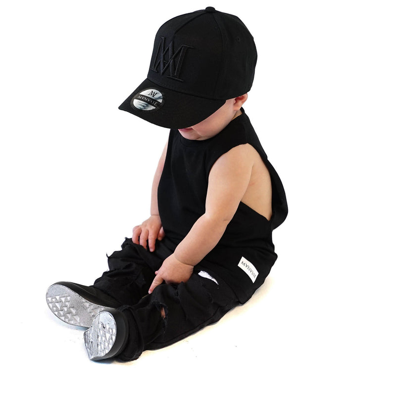 <strong>KIDS</strong> Baby Manasse Embroidered A-Frame Snap Back (Black on Black)