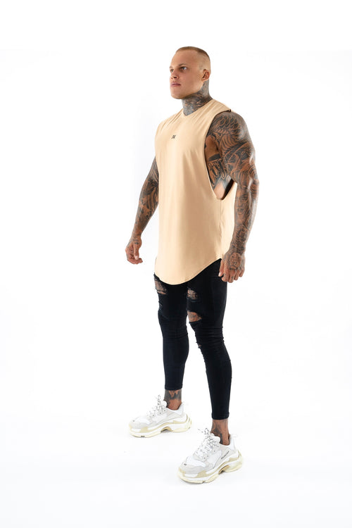 New Basix Plain Cut Off Tee (Beige)