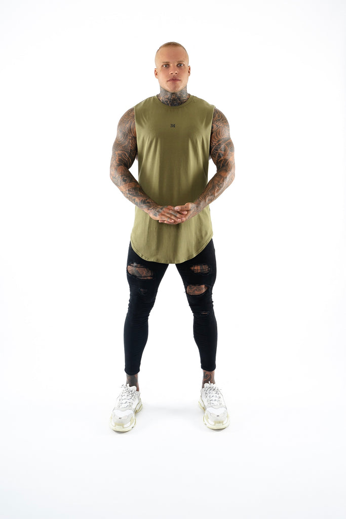 New Basix Plain Cut Off Tee (Khaki)