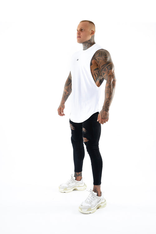 New Basix Plain Cut Off Tee (White)