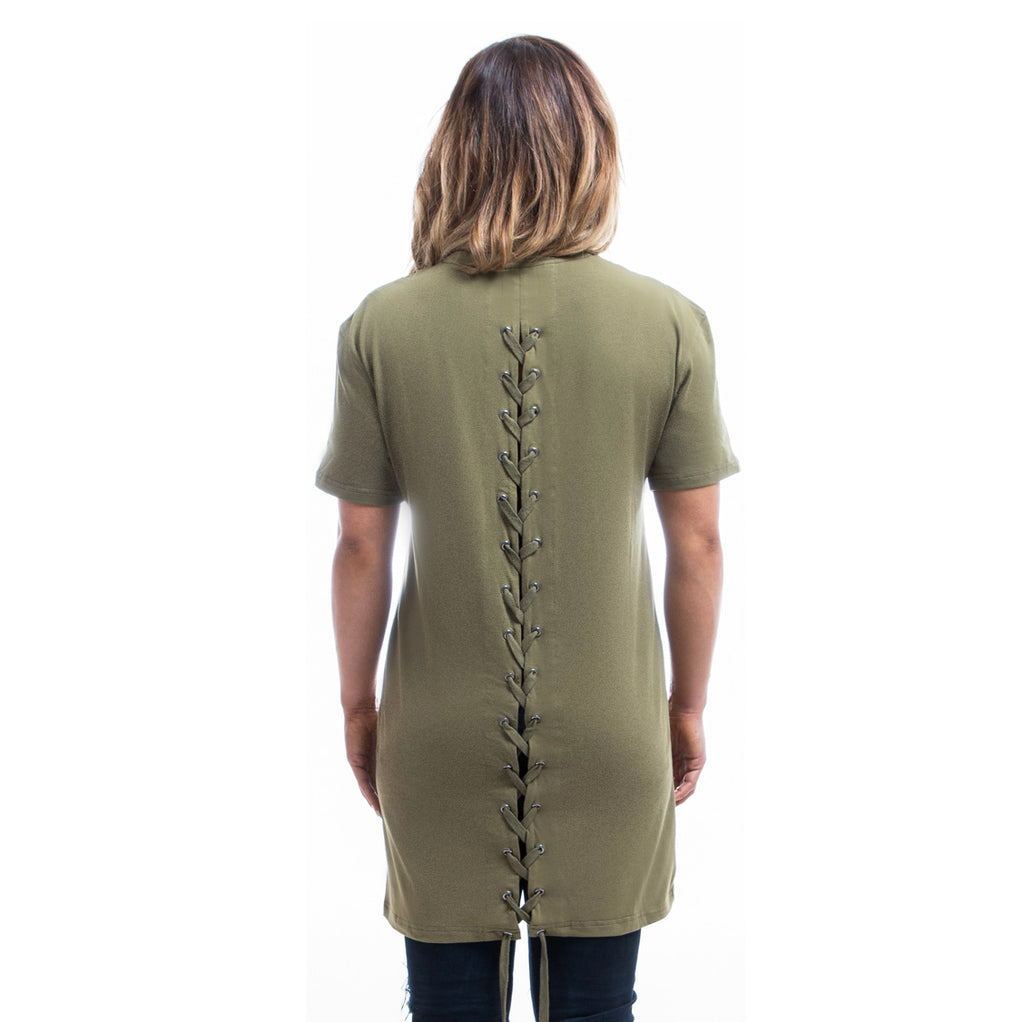 Womens - Manasse Laced Cross-Back Tee (Khaki)