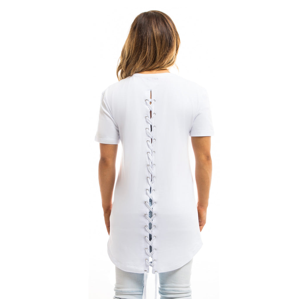 Womens - Manasse Laced Cross-Back Tee (White)
