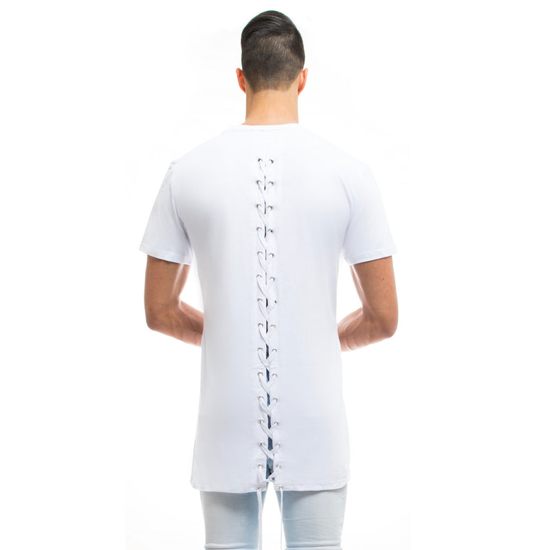 Mens - Manasse Laced Cross-Back Tee (White)