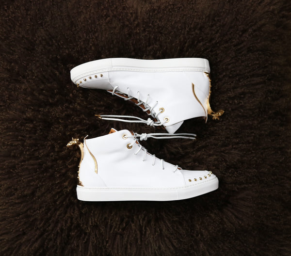 White luxury high-top sneakers lajabu seven