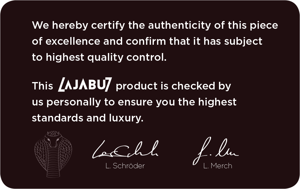 Lajabu Seven certificate of authenticity back view