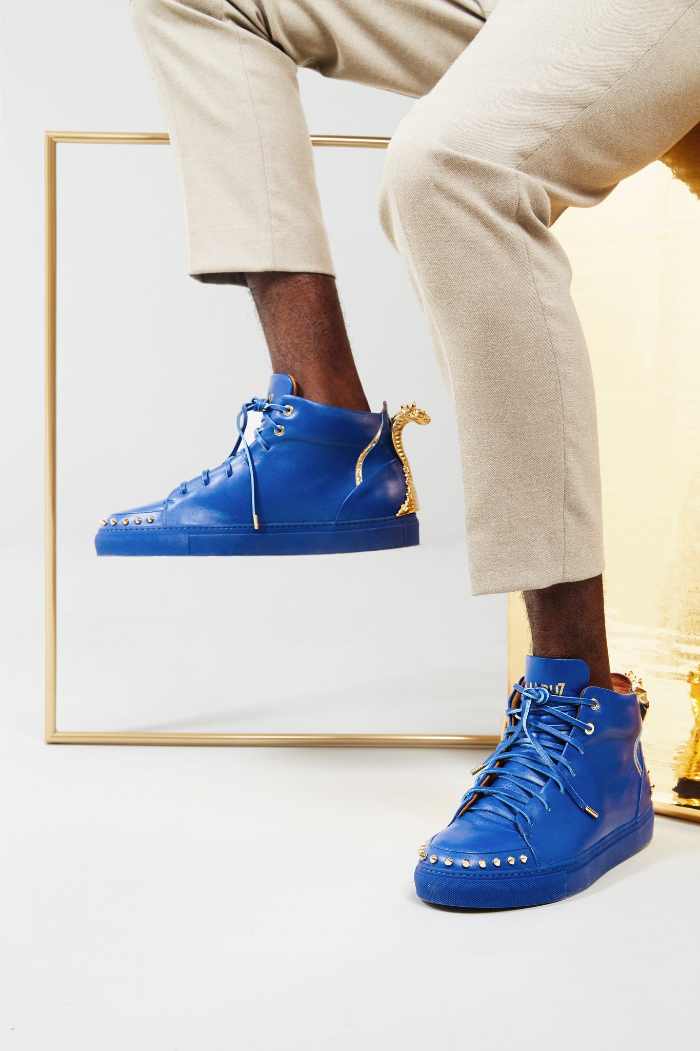 "The 5"" Blue Sky, Lajabu Seven, luxury, sneakers, cobra on shoes, gold"