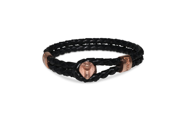 Rose Gold Cobra Black Leather Bracelet
