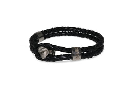 White Gold Cobra Black Leather Bracelet