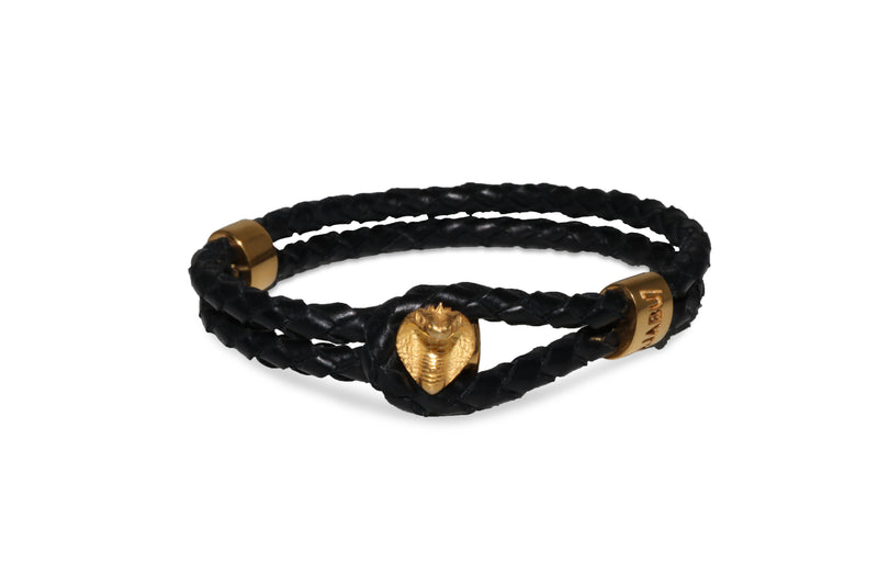 Gold Cobra Black Leather Bracelet Ref. 89211