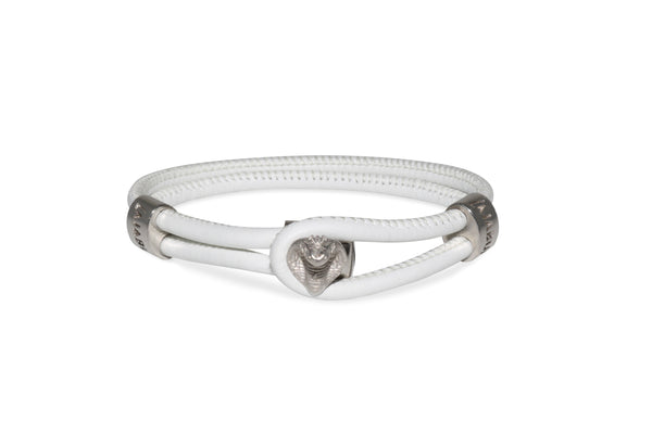 White Gold Cobra White Leather Bracelet Ref. 89223