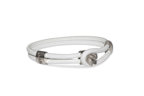 White Gold Cobra White Leather Bracelet