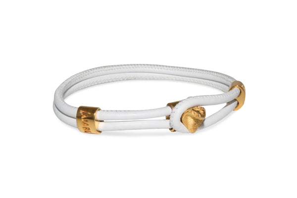 Gold Cobra White Leather Bracelet
