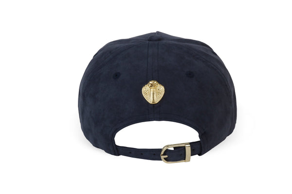 Gold Cobra Vegan Suede Cap Midnight Blue