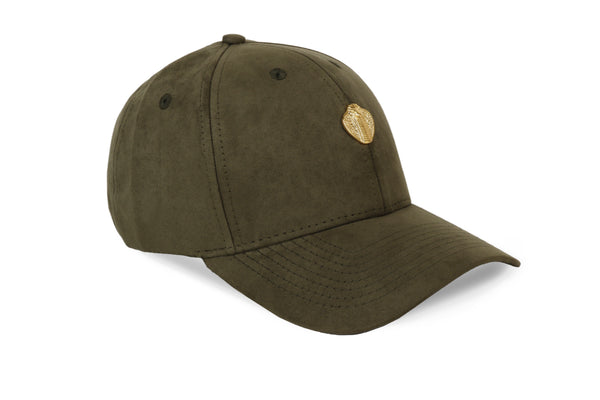 Gold Cobra Vegan Suede Cap Forest Green