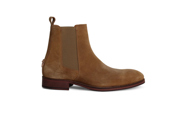 Camel Beige Chelsea Boots with Cobra Logo