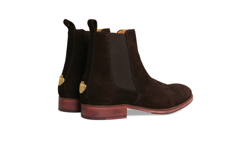 Dark Chocolate Brown Chelsea Boots with Cobra Logo