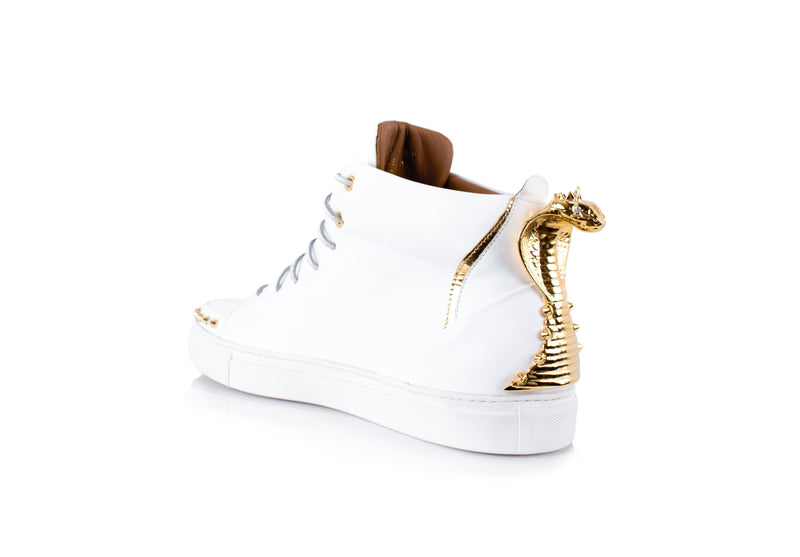 White Cobra Statue High-Top Sneaker Edition Diamond Women