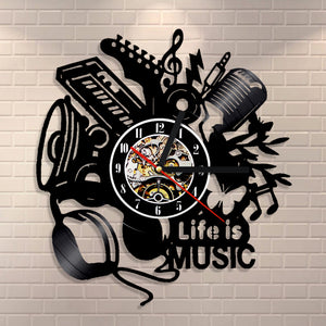 Musical Instruments Vinyl Record Wall Clock Life Is Music
