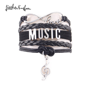 Love music bracelet note  leather wrap