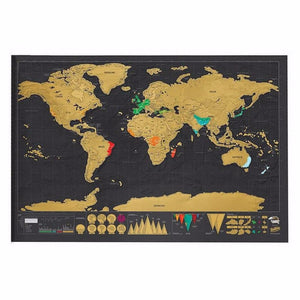 1pcs Travel Scratch Off Map Personalized Deluxe World Map Scratch Off Foil Layer Coating Poster Kid Bedroom Home Wall Sticker