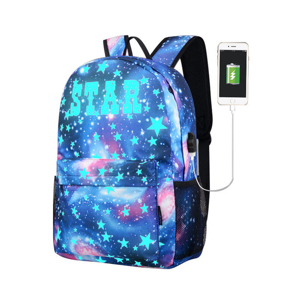 Galaxy School Bag Backpack with USB Charger