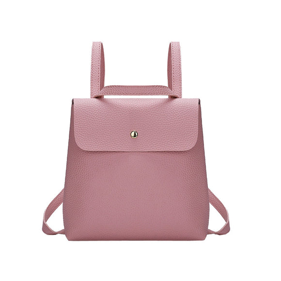 Fashion PU Leather Shoulder Bag Women Girl Pure Color Leather Mini School Bag Backpack Shoulder Bag High Quality Hasp Backpacks