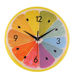 Creative Round Digital Wall Clocks Modern Style Living Room Lovely Watermelon Lemon Kiwifruit Fruit Shape Hanging Clock #10