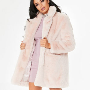 Faux Fur Coat Women Long Sleeve Thick Warm Flurry Jackets Plus Size Coat Winter Black Yellow Pink Red Fur Coats Fall 2018 T8