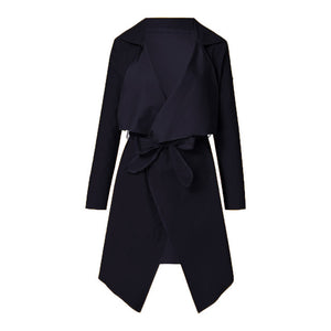Women's Loose Solid Irregular Hem With Lapel Coat Trench Coat Cardigan autumn outwear overcoat female