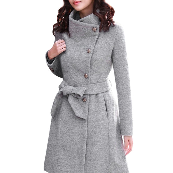 FeiTong Wool Winter Coat Women Winter Lapel Wool Coat Trench Long Sleeve Overcoat Outwear Woman Winter 2018 Blend Coat